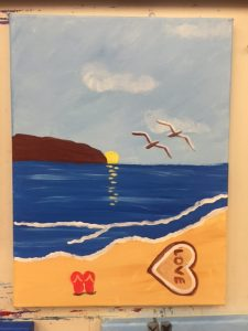 Love in the Sand at the Beach Painting - For Classes and Parties at the Art Station, The Art, Party, and Framing Place