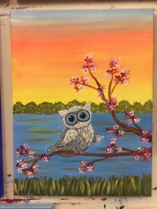 Big Eyed Owl by Water Painting - For Classes and Parties at the Art Station, The Art, Party, and Framing Place