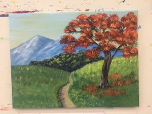 Autumn Tree and Mountain Painting - For Classes and Parties at the Art Station, The Art, Party, and Framing Place