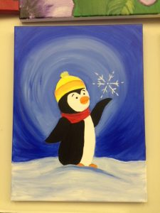 Penguin and Snowflake Painting - For Classes and Parties at the Art Station, The Art, Party, and Framing Place