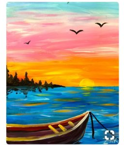 Row Boat on Bright Blue Water Painting - For Classes and Parties at the Art Station, The Art, Party, and Framing Place