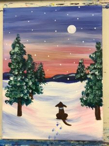 Dog in Snowy Landscape with Pines Painting - For Classes and Parties at the Art Station, The Art, Party, and Framing Place