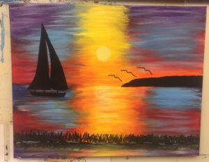 Silhouette Sailboat at Sunset Painting - For Classes and Parties at the Art Station, The Art, Party, and Framing Place