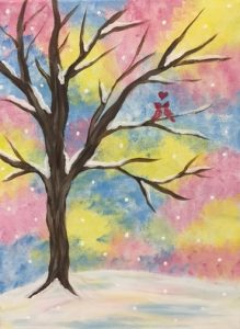 Winter Love Birds Painting - For Classes and Parties at the Art Station, The Art, Party, and Framing Place