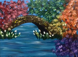 Colorful Trees and Bridge Painting - For Classes and Parties at the Art Station, The Art, Party, and Framing Place
