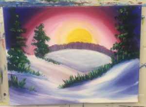 Snow Covered Hills and Sunset Painting - For Classes and Parties at the Art Station, The Art, Party, and Framing Place