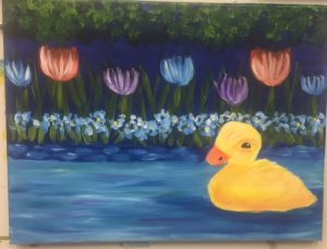 Baby Duck and Flowers Painting - For Classes and Parties at the Art Station, The Art, Party, and Framing Place