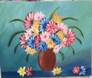 Colorful Flowers in a Vase Painting - For Classes and Parties at the Art Station, The Art, Party, and Framing Place