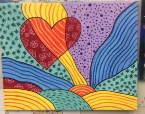 Heart Pop Art Painting - For Classes and Parties at the Art Station, The Art, Party, and Framing Place