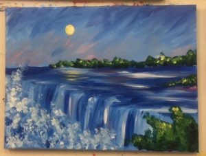 Big Waterfall Painting - For Classes and Parties at the Art Station, The Art, Party, and Framing Place
