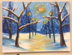 Snowy Street with Lamp Posts Painting - For Classes and Parties at the Art Station, The Art, Party, and Framing Place