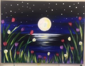 Moon at Night Painting - For Classes and Parties at the Art Station, The Art, Party, and Framing Place