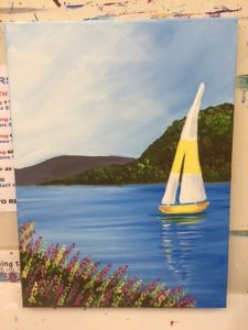 Yellow Sail Boat Painting - For Classes and Parties at the Art Station, The Art, Party, and Framing Place