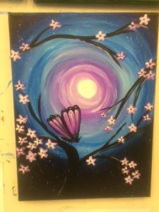 Purple Butterfly at Night Painting - For Classes and Parties at the Art Station, The Art, Party, and Framing Place