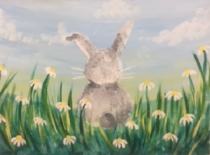 Bunny in Flowers Painting - For Classes and Parties at the Art Station, The Art, Party, and Framing Place