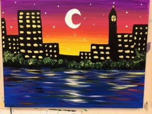 City and Moon at Night Painting - For Classes and Parties at the Art Station, The Art, Party, and Framing Place