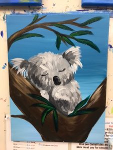 Koala Sleeping Painting - For Classes and Parties at the Art Station, The Art, Party, and Framing Place