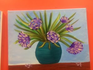 Purple Flowers in Turquoise Vase Painting - For Classes and Parties at the Art Station, The Art, Party, and Framing Place