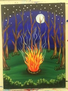 Camp Fire at Night Painting - For Classes and Parties at the Art Station, The Art, Party, and Framing Place