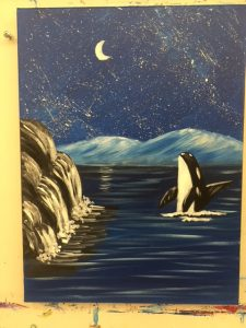 Whale in Ocean Painting - For Classes and Parties at the Art Station, The Art, Party, and Framing Place
