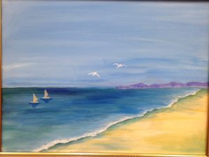 Beach with Seagull Birds and Boats Painting - For Classes and Parties at the Art Station, The Art, Party, and Framing Place