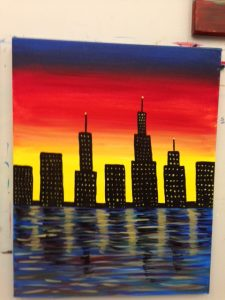 City by Water Painting - Art Station, The Art, Party, School Trip and Framing Place