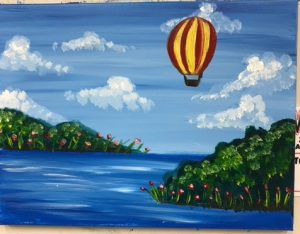 Hot Air Balloon With Clouds Painting - For Classes and Parties at the Art Station, The Art, Party, School Trip and Framing Place