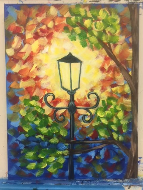 lamp light paintiing adult painting class