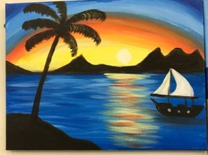 Palm Tree and Sail Boat Painting - For Classes and Parties at the Art Station, The Art, Party, School Trip and Framing Place