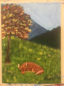 Baby Fawn Deer by Tree Painting - For Classes and Parties at the Art Station, The Art, Party, School Trip and Framing Place