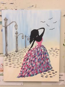 Woman Pink Dress with Lamp Post Painting - For Classes and Parties at the Art Station, The Art, Party, School Trip and Framing Place