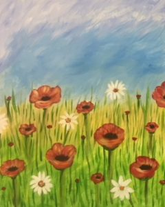 Poppy Flowers in Field Painting - For Classes and Parties at the Art Station, The Art, Party, School Trip and Framing Place
