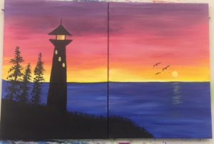Lighthouse and Sunset Two Person Painting - For Classes and Parties at the Art Station, The Art, Party, School Trip and Framing Place