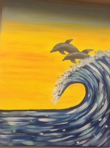 Dolphins Surfing Waves Painting - For Classes and Parties at the Art Station, The Art, Party, School Trip and Framing Place