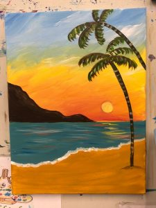 Palm Trees on a Beach Sunset Painting - For Classes and Parties at the Art Station, The Art, Party, and Framing Place