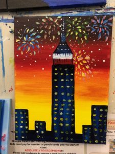 fireworks fourth of july empire state Painting - For Classes and Parties at the Art Station, The Art, Party, and Framing Place