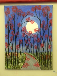 Art Class Painting - Red Leaves and Full Moon- Art Station