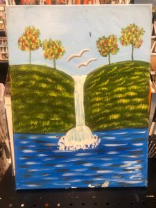 Waterfall Between Two Hills Painting - For Classes and Parties at the Art Station, The Art, Party, and Framing Place