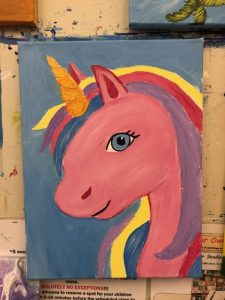 My Little Pink Unicorn Painting - For Classes and Parties at the Art Station, The Art, Party, and Framing Place