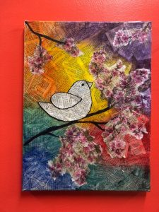 Bird with Flowers Collage Painting - For Classes and Parties at the Art Station, The Art, Party, and Framing Place