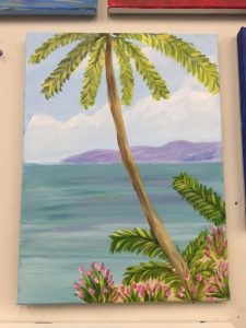 Palm Tree and Pink Flowers by Water Painting - For Classes and Parties at the Art Station, The Art, Party, and Framing Place