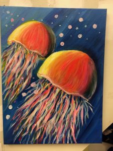 Jellyfish Painting - For Classes and Parties at the Art Station, The Art, Party, and Framing Place