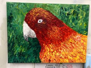 Parrot Palette Knife Painting - For Classes and Parties at the Art Station, The Art, Party, and Framing Place