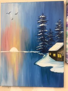 Snow Cabin with Icy Lake and Sunset Painting - For Classes and Parties at the Art Station, The Art, Party, and Framing Place