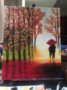 People with Umbrella and Fall Trees Painting - For Classes and Parties at the Art Station, The Art, Party, and Framing Place