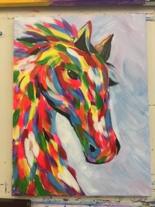 Colorful Horse Painting - For Classes and Parties at the Art Station, The Art, Party, and Framing Place