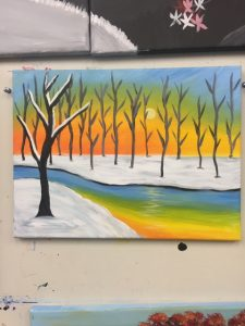 Snowy Sunset Painting with Yellow and Blue River - For Classes and Parties at the Art Station, The Art, Party, and Framing Place