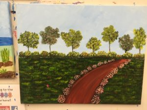 Green Trees with Flower Lined Path Painting - For Classes and Parties at the Art Station, The Art, Party, and Framing Place