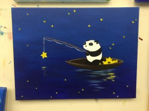 Panda Fishing Stars Painting - For Classes and Parties at the Art Station, The Art, Party, and Framing Place