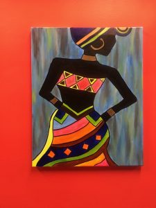 African Figure in Color Dress and Head Scarf Painting - For Classes and Parties at the Art Station, The Art, Party, and Framing Place